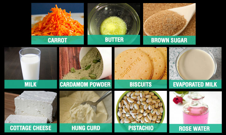 Carrot halwa cheesecake ingredients @TheRoyaleIndia