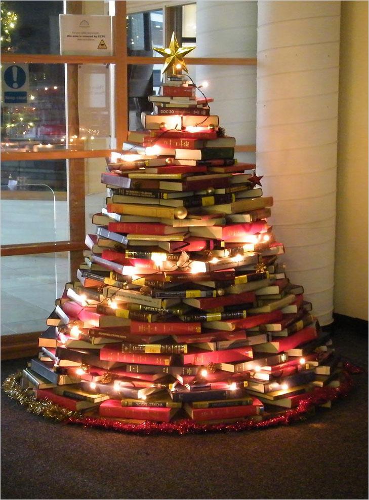 Christmas tree stacked books @TheRoyaleIndia