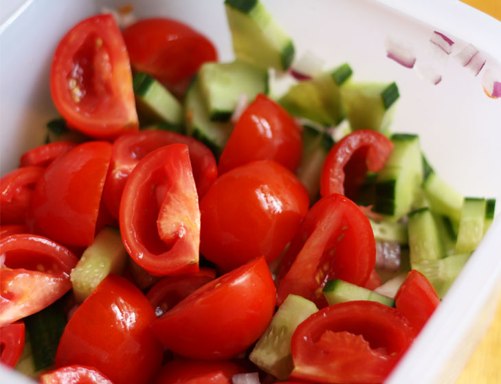 Cucumber tomato salad morning quick weight @TheRoyaleIndia