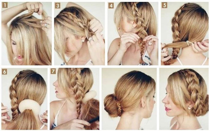 braid bun steps
