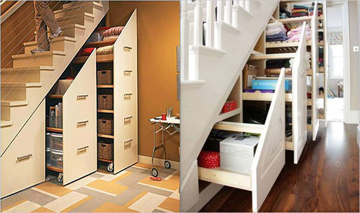 Under stair area slide out storage