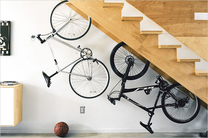 Under stair bike rack
