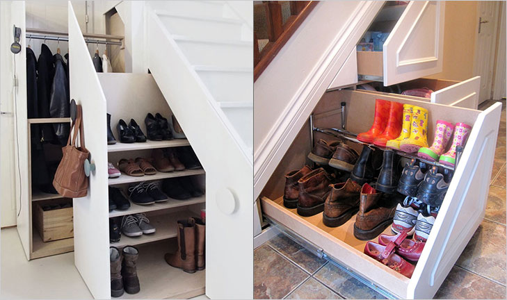 Under stair shoe rack