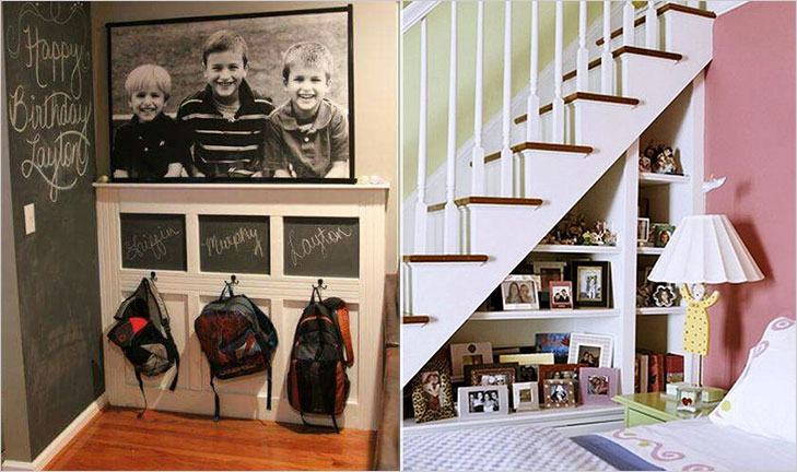 Understair area family pictures display