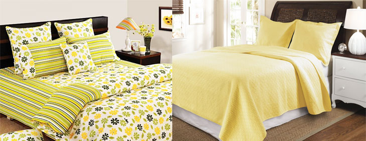Yellow green bedsheets feng shui @TheRoyaleIndia