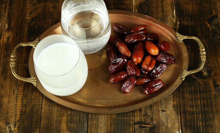 Break fast with dates water milk fruit juice @TheRoyaleIndia