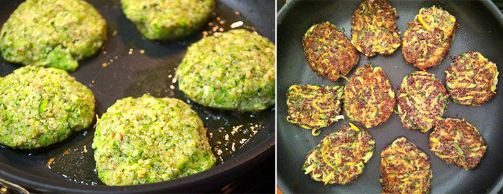 Quinoa zucchini fritters frying @TheRoyaleIndia