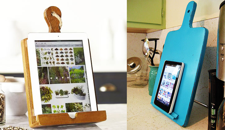 Cutting board tablet phone holder