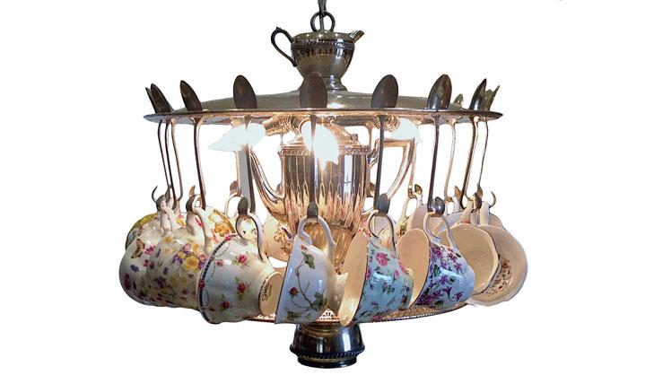 Tea cup spoon chandelier