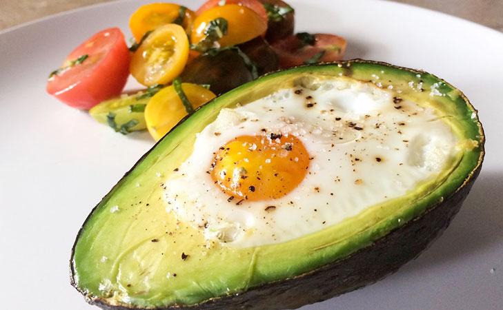 Baked eggs in avocado @TheRoyaleIndia