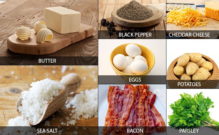 Baked eggs in potatoes ingredients @TheRoyaleIndia