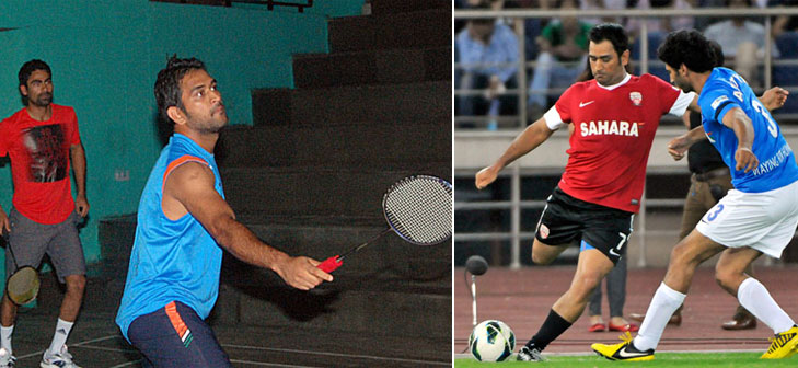 Dhoni football badminton @TheRoyaleIndia
