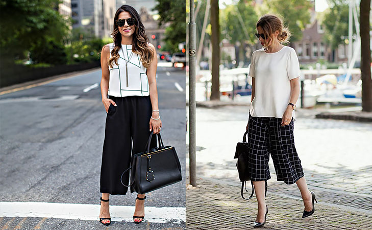 Go monochrome in culottes for office wear work @TheRoyaleIndia