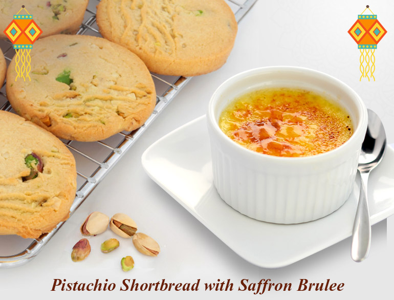 Saffron Brulee And Pistachio Shortbread @TheRoyaleIndia