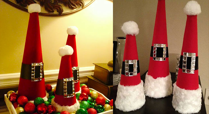 christmas decor ideas decoratie santa cones @TheRoyaleIndia