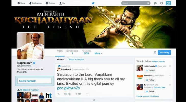 rajnikanth twitter fan following @TheRoyaleIndia