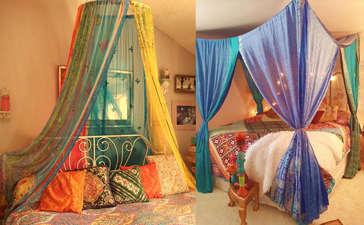 repurpose old sarees bed canopies @TheRoyaleIndia