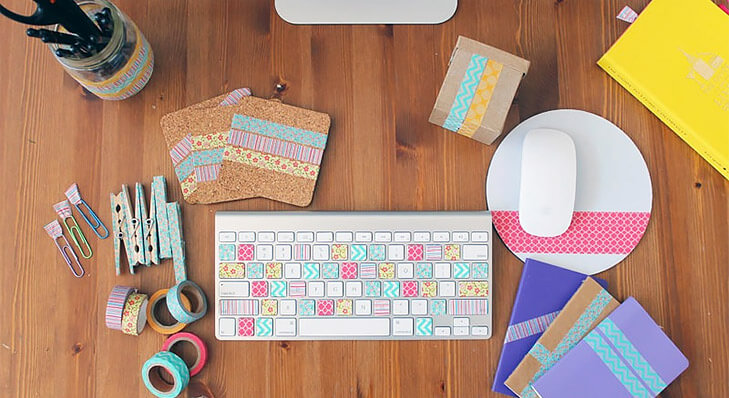 Tips to personalise office desk washi tape @TheRoyaleIndia