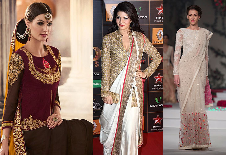 tips to stay warm winters saree with long sleeve blouse @TheRoyaleIndia