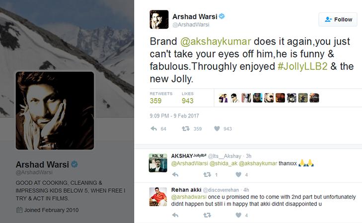 Jolly LLB 2 Arshad warsi twitter tweet @TheRoyaleIndia