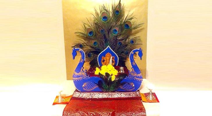 Ganpati Decoration Ideas With Peacock Feathers